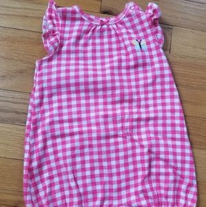Carter's Pink Gingham Romper with Frog on Bottom